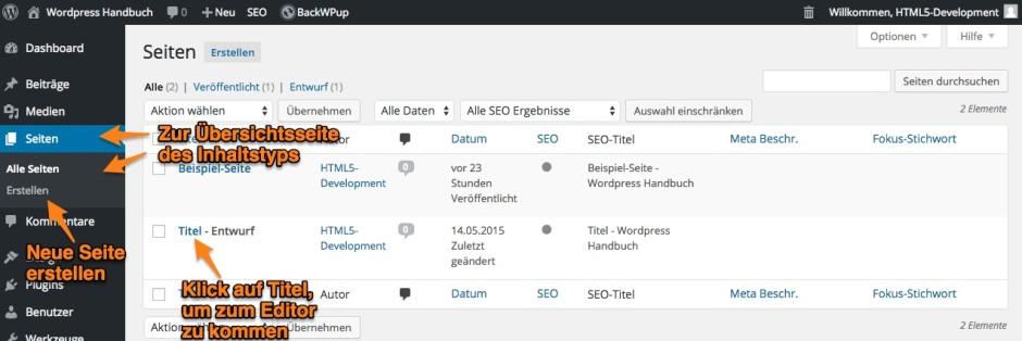 Übersichtsseite des Inhaltstyps - WordPress