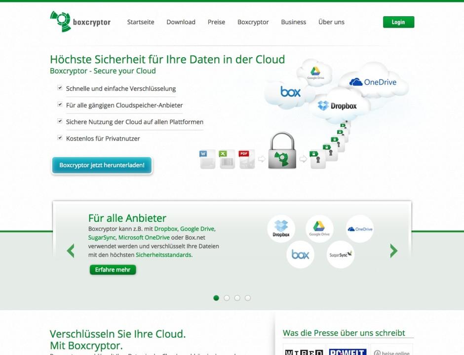 Screenshot boxcryptor.com/de