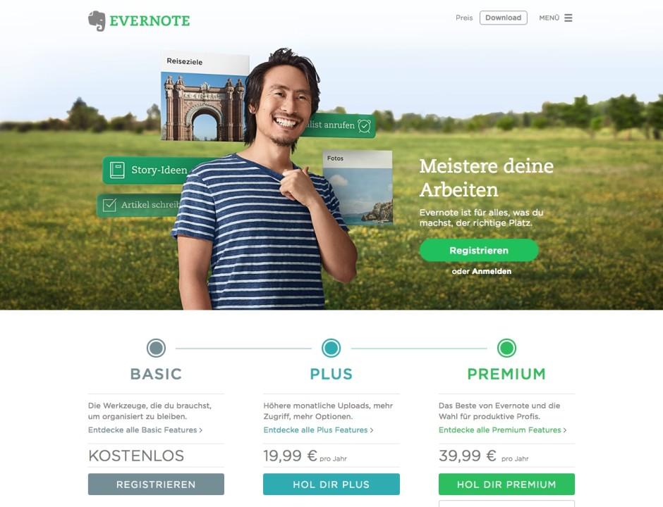 Screenshot evernote.com/intl/de/