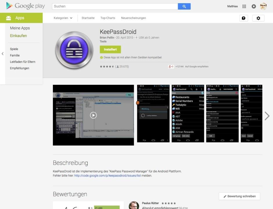 Screenshot keepassdroid.com