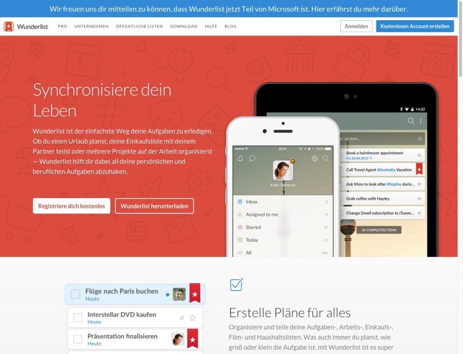 Screenshot wunderlist.com/de/home